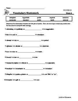 4th Grade Weekly Vocabulary  - Week 8