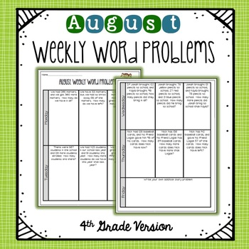 4th Grade Weekly Word Problems   August   Distance Learning