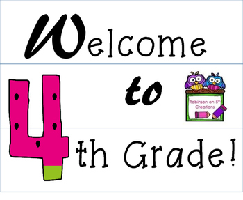 4th Grade Welcome~Lightbox Insert