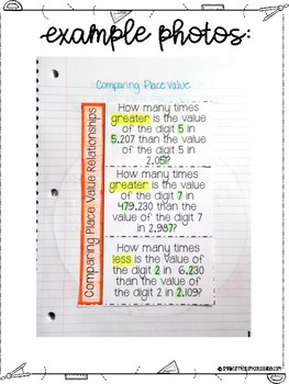 Fourth Grade Math Whole Numbers, Place Value and Rounding Interactive Notebook