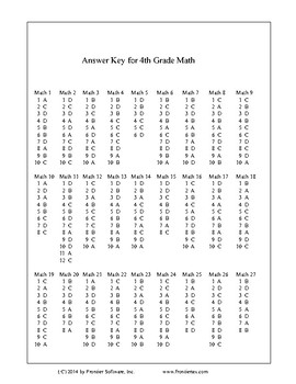 4th Grade Windows Math Software Answer Key