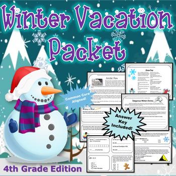 4th Grade Winter Break Vacation Packet {CCSS Aligned}