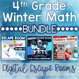 4th Grade Winter Digital Escape Rooms Math Review DISTANCE