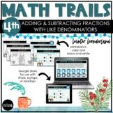 4th Grade Winter Math Scavenger Hunt   Add & Subtract Frac