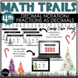 4th Grade Winter Math Scavenger Hunt   Fractions as Decima