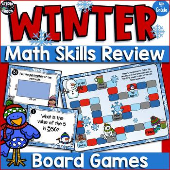 4th Grade Math Test Prep Winter Task Card Board Game