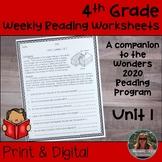 4th Grade Wonders 2020 Weekly Reading Worksheets Unit 1 Print & Digital