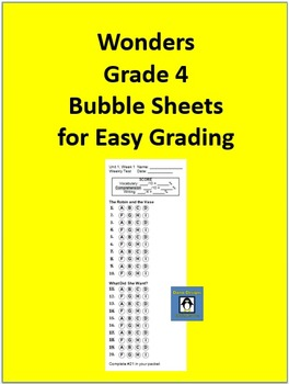 4th Grade Wonders Bubble Sheets for Grading