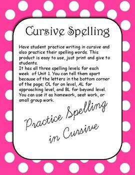 4th Grade Wonders Cursive Spelling