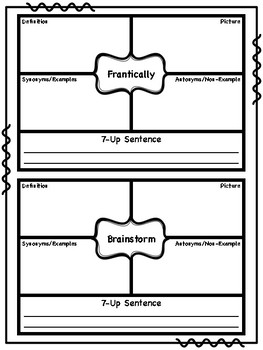 4th Grade Wonders Focus Vocabulary Journal
