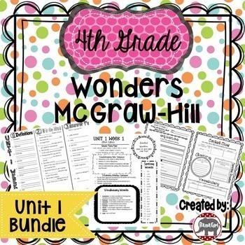 4th Grade Wonders McGraw Hill Reading *** Unit 1 Bundle ***