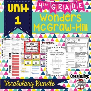 4th Grade Wonders McGraw Hill Reading *** Unit 1 Vocabulary Bundle ***