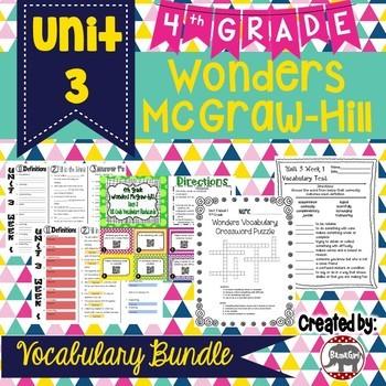 4th Grade Wonders McGraw Hill Reading *** Unit 3 Vocabulary Bundle ***