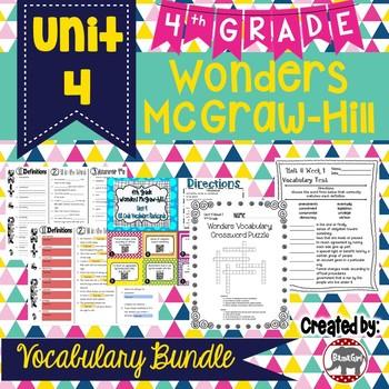4th Grade Wonders McGraw Hill Reading *** Unit 4 Vocabulary Bundle ***
