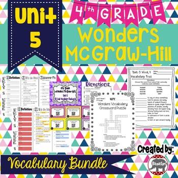 4th Grade Wonders McGraw Hill Reading *** Unit 5 Vocabulary Bundle ***