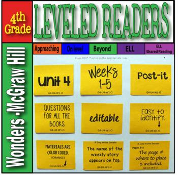 Mc Graw-Hill 4th Grade Wonders Post-its Unit 4