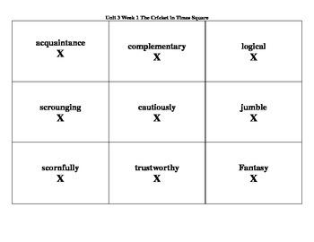 4th Grade Wonders Reading Series Unit 3 Week 1 Vocabulary Tic-Tac-Toe