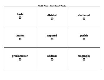 4th Grade Wonders Reading Series Unit 3 Week 4 Vocabulary Tic-Tac-Toe