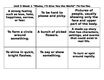 4th Grade Wonders Reading Series Unit 5 Week 1 Vocabulary Tic Tac Toe