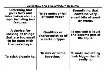 4th Grade Wonders Reading Series Unit 5 Week 4 Vocabulary Tic Tac Toe