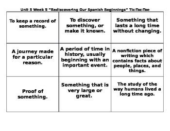 4th Grade Wonders Reading Series Unit 5 Week 5 Vocabulary Tic Tac Toe