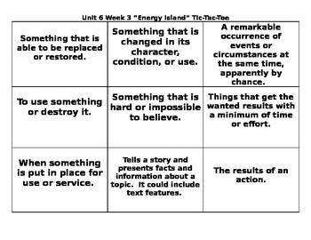4th Grade Wonders Reading Series Unit 6 Week 3 Vocabulary Tic-Tac-Toe