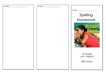 4th Grade Wonders Reading Spelling Brochure Unit 1 Week 2 On Level