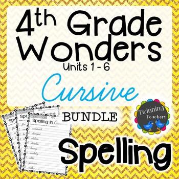 4th Grade Wonders Spelling - Cursive BUNDLE