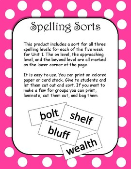 4th Grade Wonders Spelling Sort