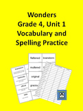 4th Grade Wonders - Unit 1 Spelling and Vocabulary Practice