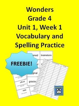 4th Grade Wonders Unit 1, Week 1 FREEBIE Spelling and Vocabulary