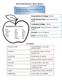 4th Grade Wonders Unit 1 Week 5 Quick Reference Sheet