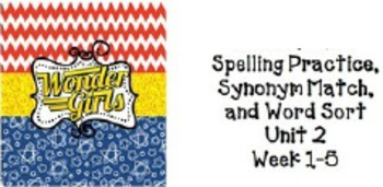 4th Grade Wonders: Unit 2 Spelling Practice, Synonym Match, and Word Sort