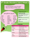 4th Grade Wonders Unit 2 Week 2 Quick Reference Sheet