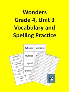 4th Grade Wonders - Unit 3 Spelling and Vocabulary Practice