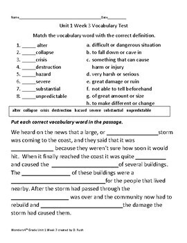 4th Grade Wonders Units 1-3 Bundle Vocabulary Tests for weeks 1-5