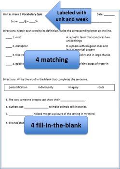 4th Grade Wonders - Units 1-3 Vocabulary Quizzes