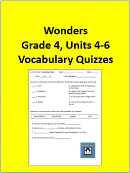 4th Grade Wonders - Units 4-6 Vocabulary Quizzes