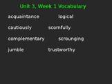 4th Grade Wonders Vocabulary Cloze Sentences Unit 3