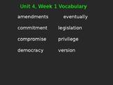 4th Grade Wonders Vocabulary Cloze Sentences Unit 4