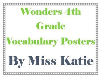 4th Grade Wonders Vocabulary Posters