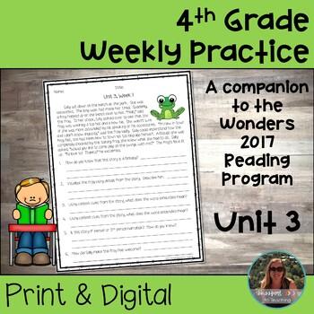 4th Grade Wonders 2017 Weekly Reading Worksheets Unit 3