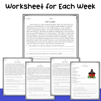 4th Grade Wonders Weekly Reading Worksheets Unit 4