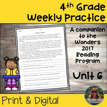 4th Grade Wonders Weekly Reading Worksheets Unit 6