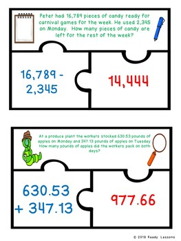 4th Grade Word Problems Addition and Subtraction Game Puzzles 4.NBT.4