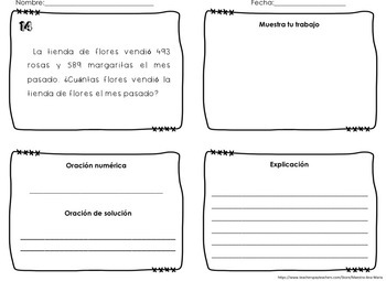 4th Grade Word Problems in Spanish