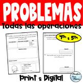 4th Grade Word Problems in Spanish - Problemas  de cuarto grado diferenciados
