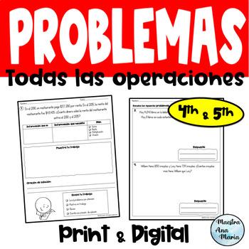 4th Grade Word Problems in Spanish - Problemas de cuarto grado ...