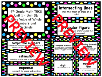 4th Grade Word Wall for ALL SUBJECTS TEKS Based (Black and Neon Theme)