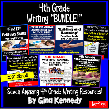 4th Grade Writing BUNDLE, Expository, Narratives, Prompts,